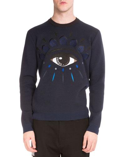 Embroidered Eye Iconic Crewneck Sweatshirt, Navy
