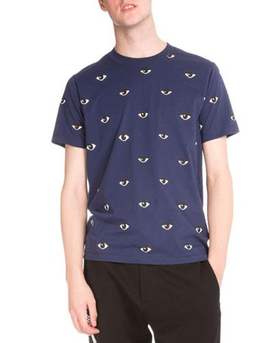 Allover Eye-Print Short-Sleeve T-Shirt, Blue
