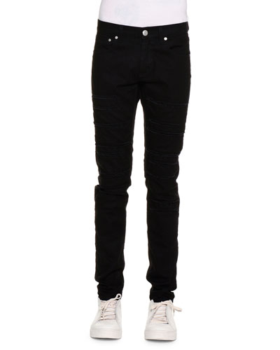 Skinny-Leg Slashed Denim Jeans, Black