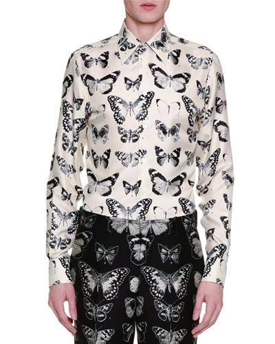 Moth-Print Silk Shirt, White/Black
