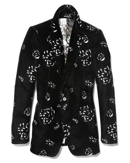 Floral-Embellished Velvet Evening Jacket, Black