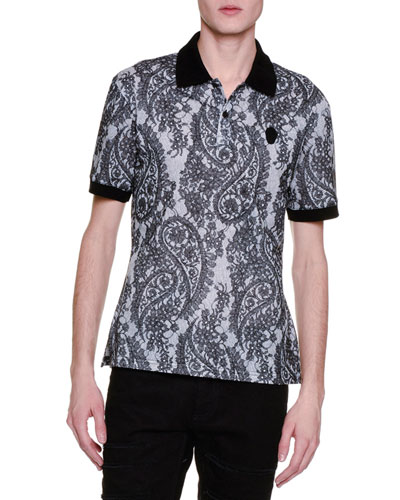 Paisley-Print Short-Sleeve Polo Shirt, Gray/Black
