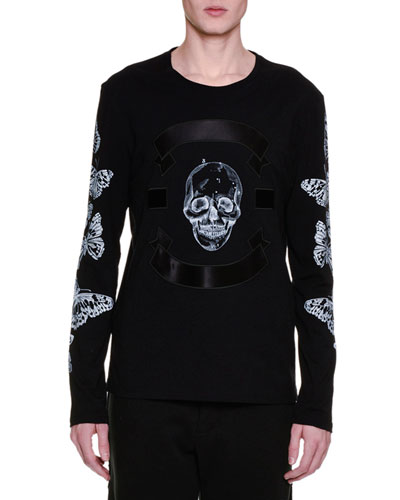 Skull & Butterfly Satin-Trim Long-Sleeve T-Shirt, Black