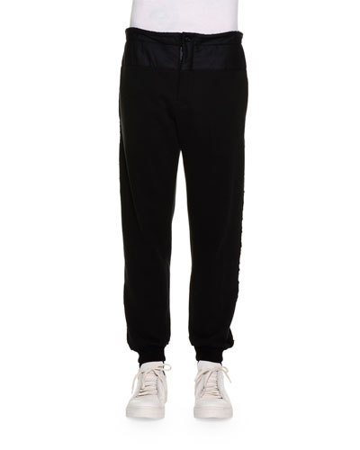 Knit Jogger Pants w/Velvet Stripes, Black