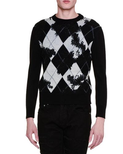 Argyle Long-Sleeve Crewneck Sweater, Black