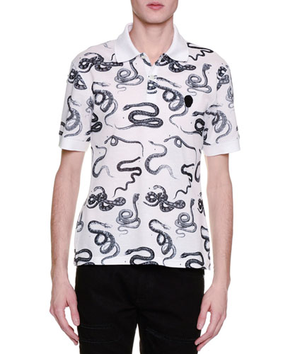 Snake-Print Polo Shirt, White/Black