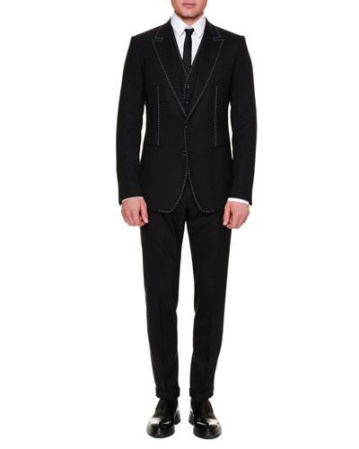 Contrast-Stitch Three-Piece Suit, Black