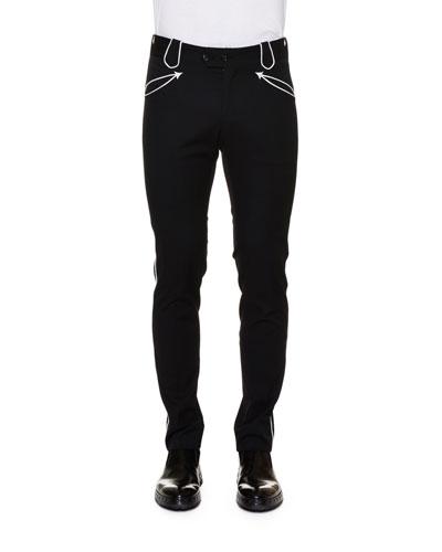Western Contrast-Trim Skinny Pants