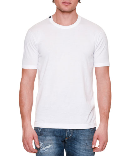 Basic Short-Sleeve Crewneck T-Shirt, White
