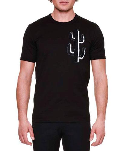 Cactus-Print Crewneck T-Shirt, Black