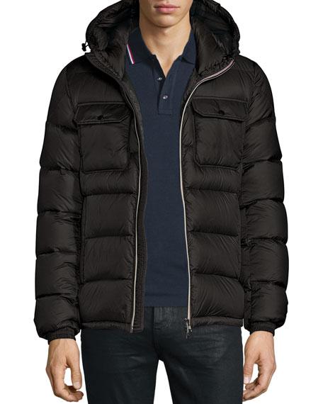 Moncler Morane Logo-Stripe Down Jacket, Black