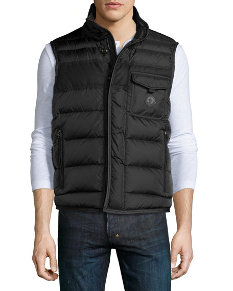 Athos Quilted Down Vest, Charcoal