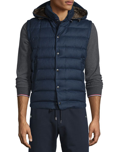 Jean Christophe Wool Down Vest w/Detachable Hood, Navy