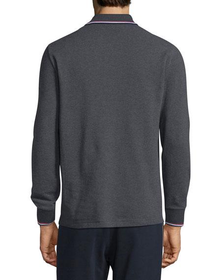 Tipped Long-Sleeve Polo Shirt, Charcoal