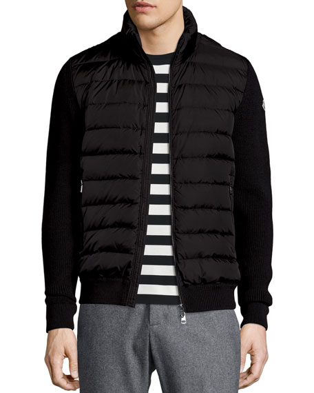 9542d7f453f4 Moncler Zip-Up Sweater with Puffer-Front
