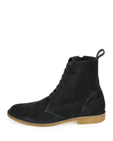 Suede Lace-Up Boots, Gray