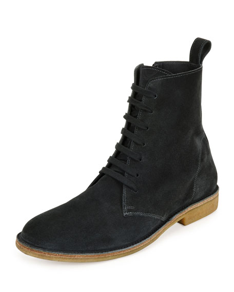 Bottega Veneta Suede Lace-Up Boot, Gray