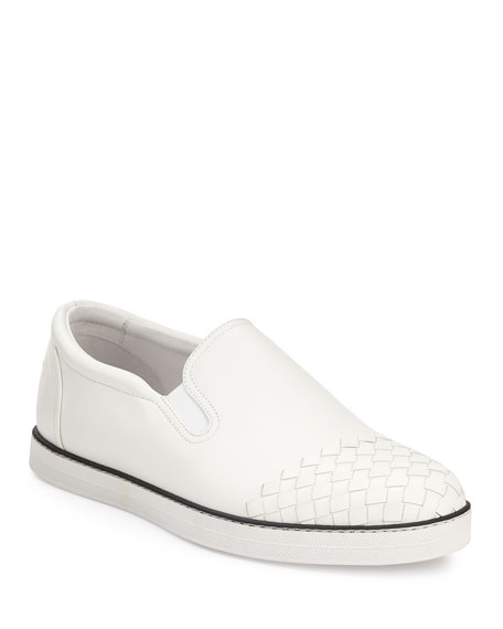 Bottega Veneta Woven-Toe Leather Skate Shoe, White