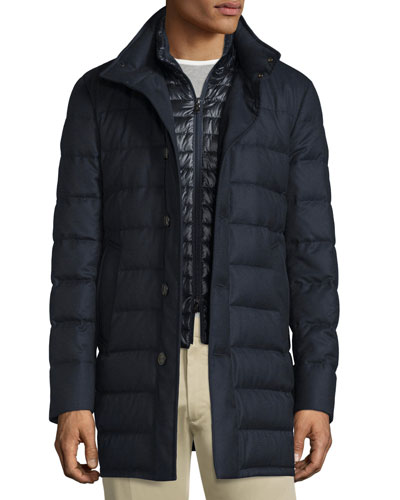 Vallier Quilted Down Coat, Navy