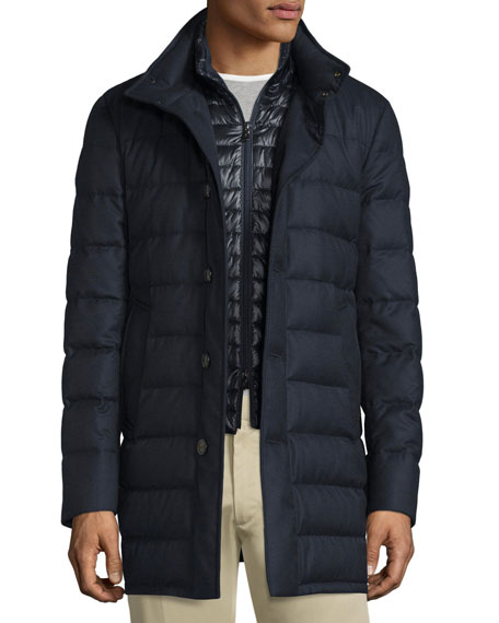 0b7088628 Vallier Quilted Down Coat Navy