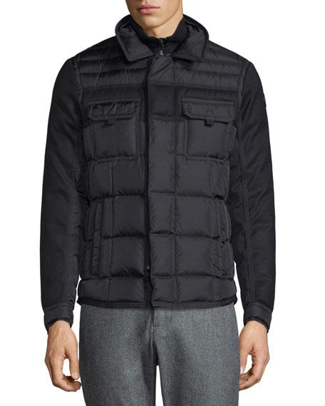 Blais Mixed-Media Down Shirt Jacket, Black