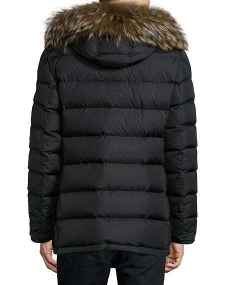 Cluny Nylon Puffer Jacket with Fur Hood, Navy