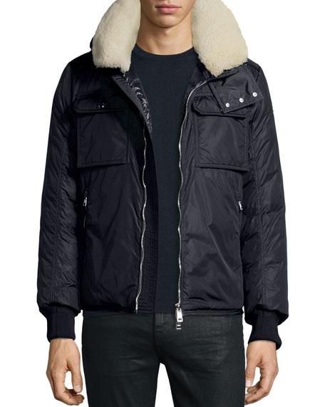 Moncler Darwin Shirt Jacket w/Shearling Collar, Navy