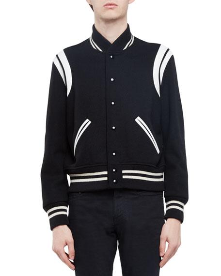 79553b6ca09 Saint Laurent Classic Teddy Varsity Jacket, Black