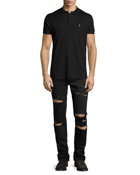 Slashed Straight-Leg Denim Jeans, Black