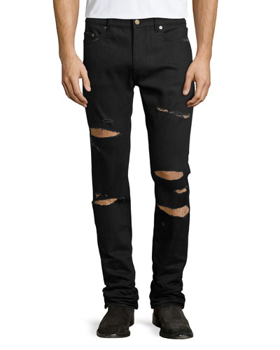 Slashed Straight-Leg Denim Jeans, Black