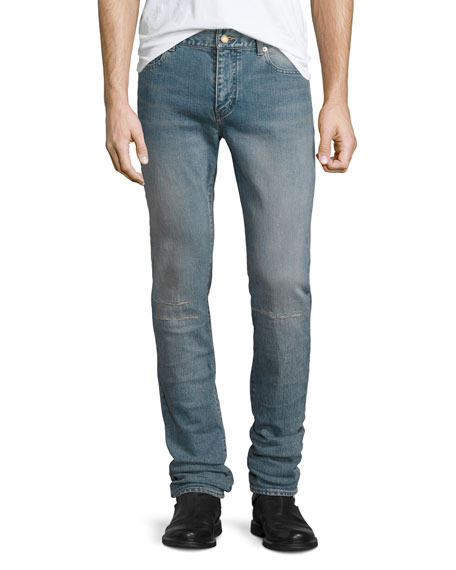 Saint Laurent Repaired Straight-Leg Denim Jeans, Light Blue