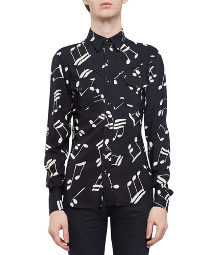 Musical Note Western-Style Shirt, Black/Ivory