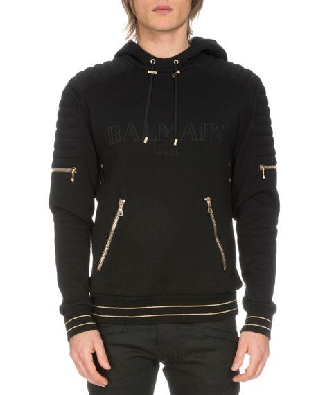 Cheap Sale Footaction New Cheap Price striped hooded sweatshirt - Black Balmain Professional Cheap Price K8x3nk1