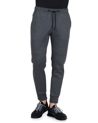 Drawstring Moto Sweatpants, Gray