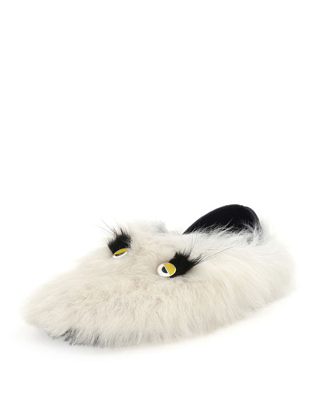 Fendi Monster Shearling & Fur Slipper