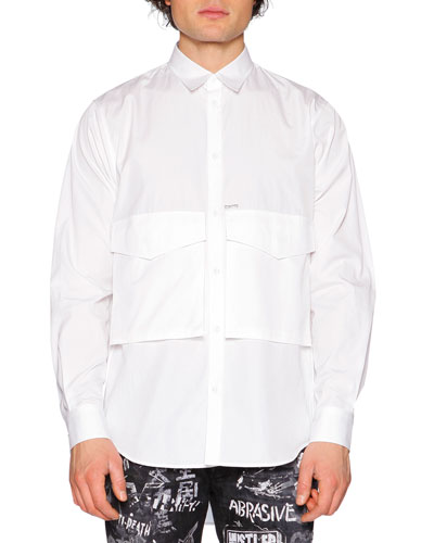 Oversized-Pocket Long-Sleeve Shirt, White