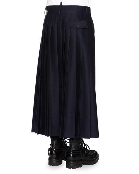 Zipper Pleated Half-Skirt Trousers