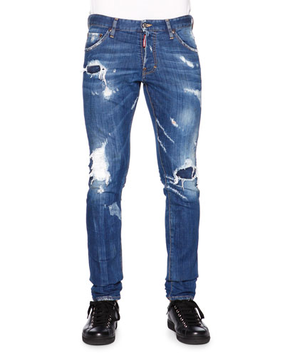 Cool Guy Destroyed Patchwork Denim Jeans, Blue