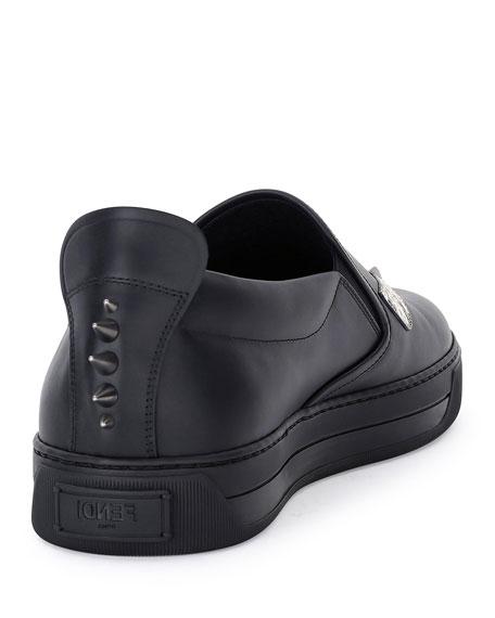 Men's Monster Eyes Leather Slip-On Sneakers, Black