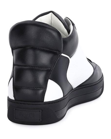 Monster Eye Leather High-Top Sneaker, White/Black