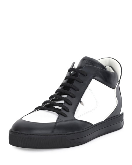Fendi Monster Eye Leather High-Top Sneaker, White/Black