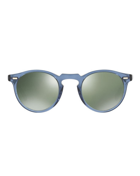 Gregory Peck Round Sunglasses, Blue