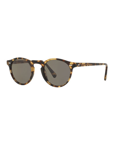 Gregory Peck Round Sunglasses, Light Brown
