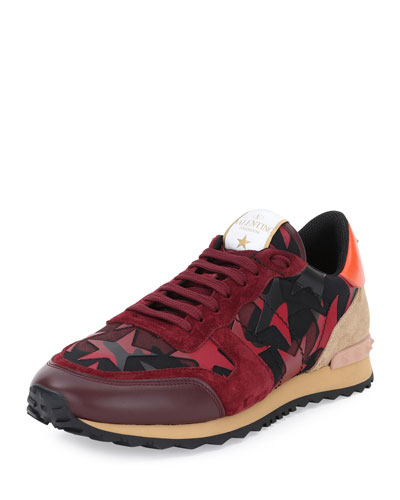 Rockrunner Star Camo-Print Trainer Sneaker, Red