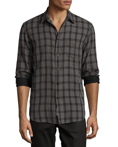 Classic-Fit Check Shirt, Gray Check