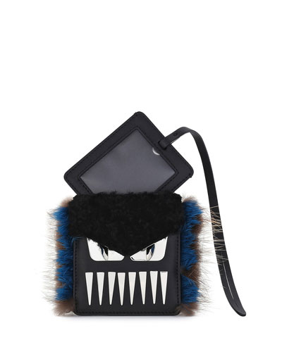 Monster Teeth Fur-Trim Luggage Tag w/Pouch, Black/Blue