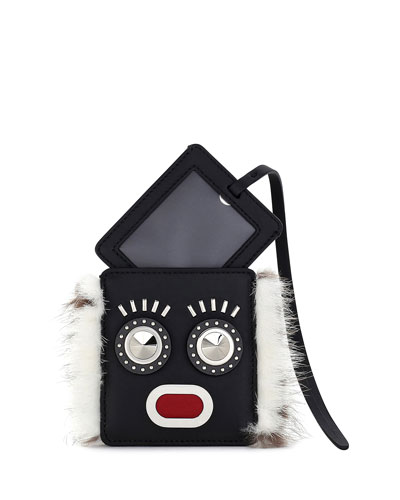 Monster Face Fur-Trim Luggage Tag w/ Pouch, Black/White