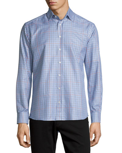 Plaid Long-Sleeve Sport Shirt, Blue/Navy/Burgundy