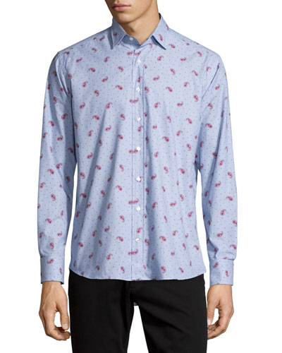 Paisley & Dot-Print Long-Sleeve Sport Shirt, Light Blue