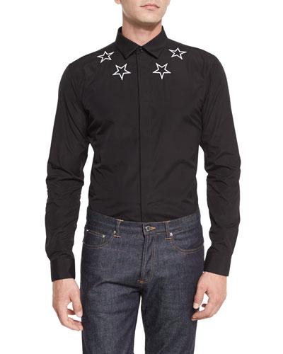 Star-Print Woven Shirt, Black